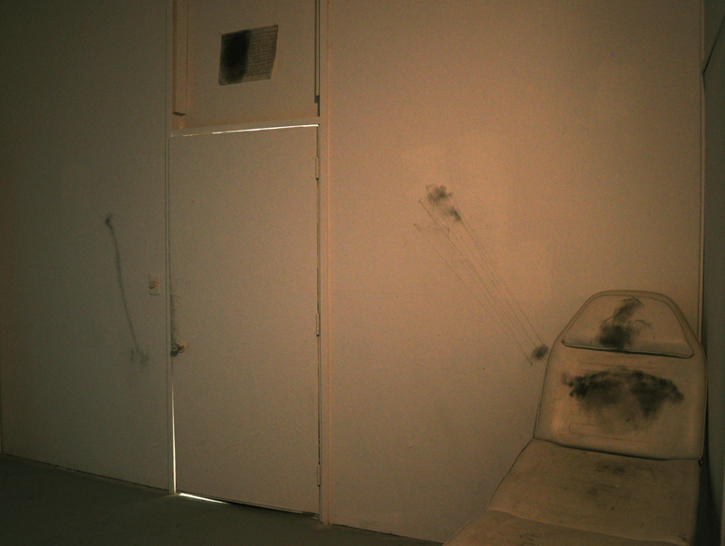Faint Visions Installation Entrance Room or the White Room Faint Drawings on either wall and My Will drawing above door.