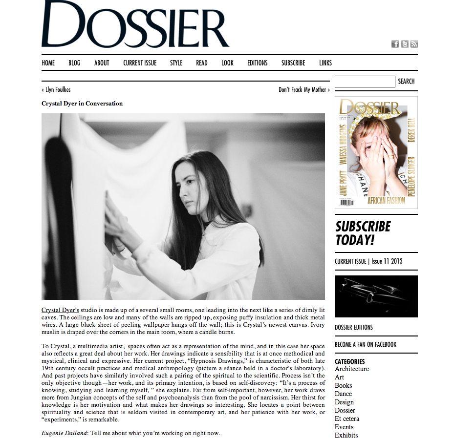 Dossier Press Crystal Dyer